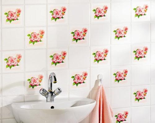 fliesenaufkleber fliesen aufkleber kacheldekor rosen 16 teiliges set ebay. Black Bedroom Furniture Sets. Home Design Ideas