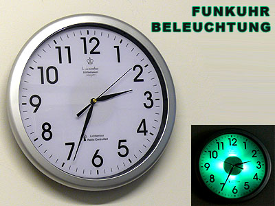 funkuhr funk wanduhr dcf 77 mit beleuchtung lichtsensor. Black Bedroom Furniture Sets. Home Design Ideas
